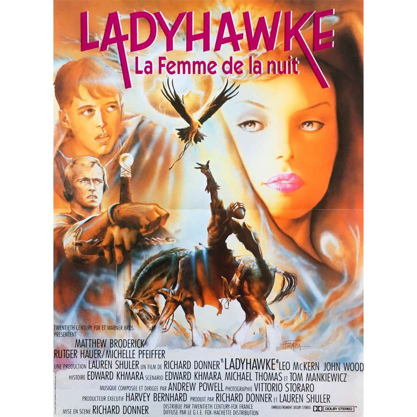 LADYHAWKE Original Movie Poster - 15x21 in. - 1985 - Richard Donner, Michelle Pfeiffer