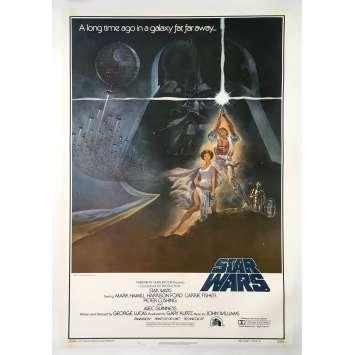STAR WARS - LA GUERRE DES ETOILES Affiche de film Style A - 1ère impr. Entoilée - 69x104 cm. - 1977