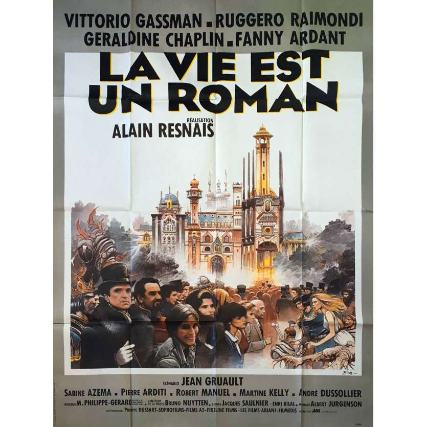 LA VIE EST UN ROMAN Affiche de film Bilal 120x160 cm - 1983 - Vittorio Gassman, Alain Resnais