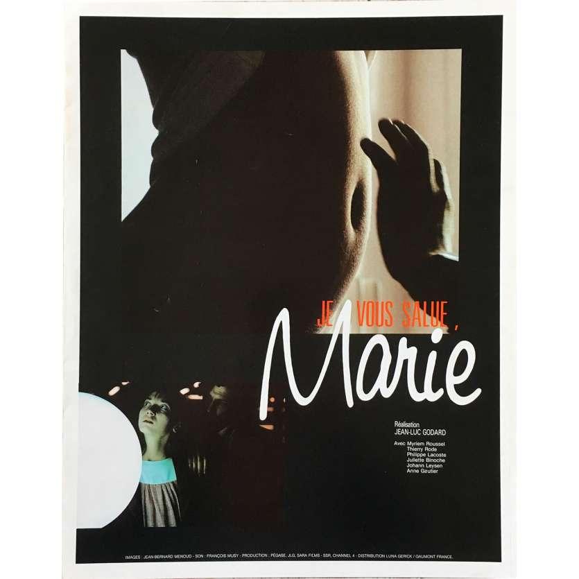 JE VOUS SALUE MARIE Synopsis 4p - 30x40 cm. - 1985 - Myriem Roussel, Jean-Luc Godard