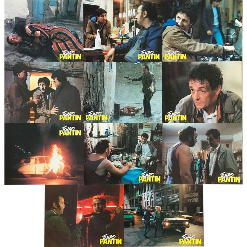 TCHAO PANTIN Photos de film x11 - 21x30 cm. - 1983 - Coluche, Claude Berri