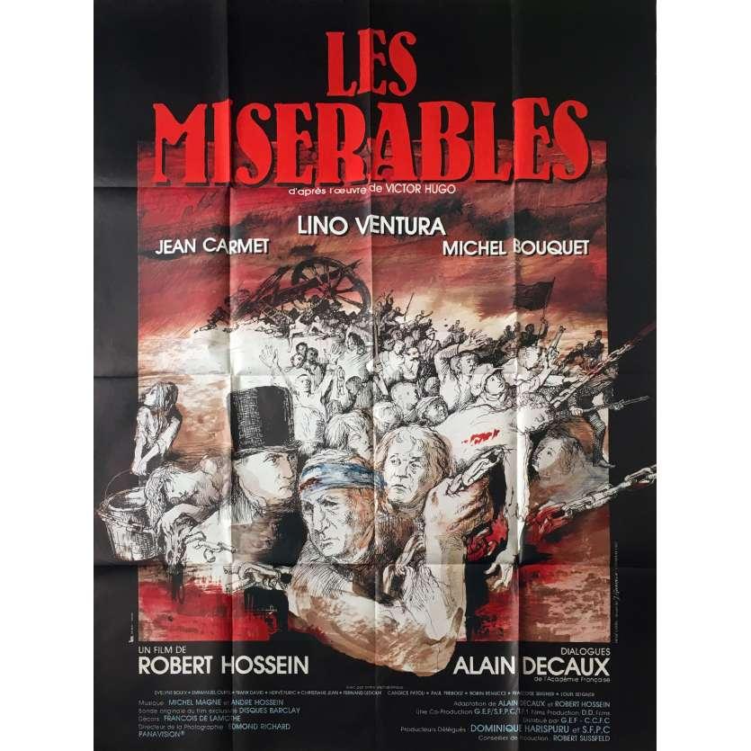 LES MISERABLES Original Movie Poster - 47x63 in. - 1982 - Robert Hossein, Lino Ventura