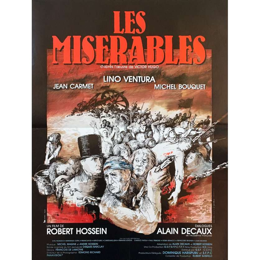 LES MISERABLES Original Movie Poster - 15x21 in. - 1982 - Robert Hossein, Lino Ventura