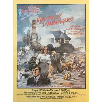 MY AMERICAN UNCLE Original Movie Poster - 15x21 in. - 1980 - Alain Resnais, Gérard Depardieu