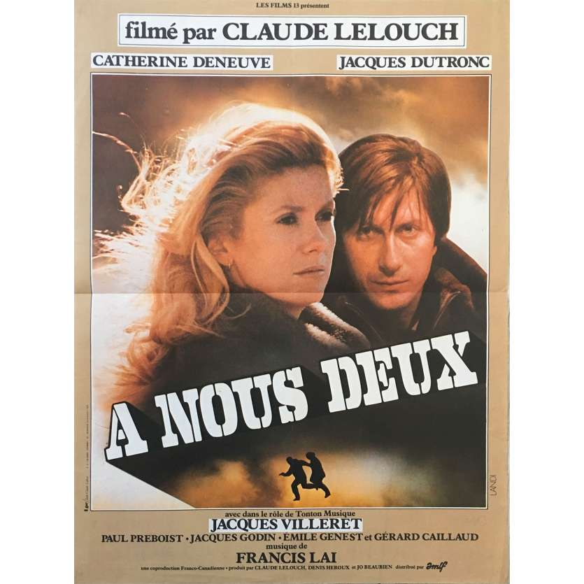 AN ADVENTURE FOR TWO Original Movie Poster - 15x21 in. - 1979 - Claude Lelouch, Catherine Deneuve, Jacques Dutronc