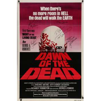 DAWN OF THE DEAD Movie Poster SIGNED by the Cast! 1979 - Romero, Savini, Foree