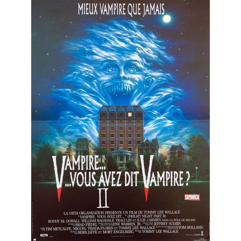 FRIGHT NIGHT French Linen Movie Poster 15x21 - 1985 - Tom Holland, Chris Sarandon