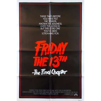 Friday THE 13TH THE FINAL CHAPTER Original Movie Poster - 27x41 in. - 1984 - Joseph Zito, Erich Anderson