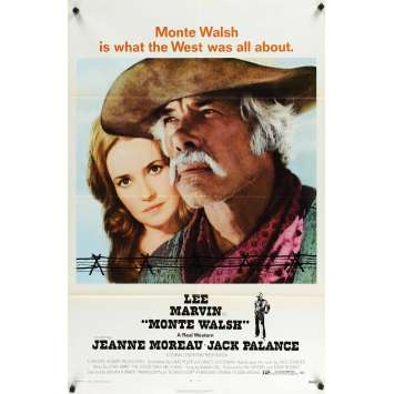 MONTE WALSH 1sh '70 super close up of cowboy Lee Marvin & pretty Jeanne Moreau!