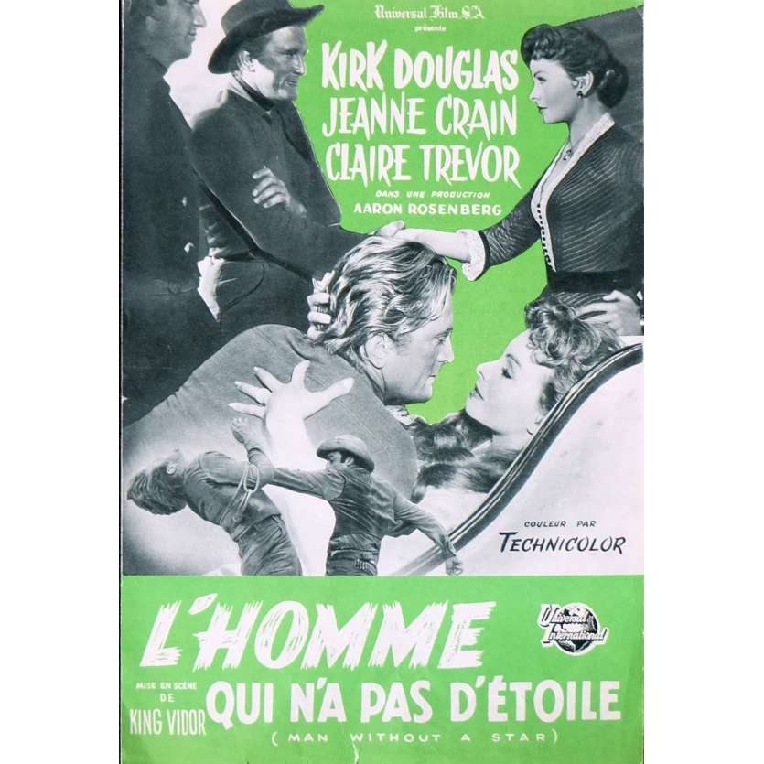 MAN WITHOUT A STAR French Herald - 1955 - King Vidor, Kirk Douglas