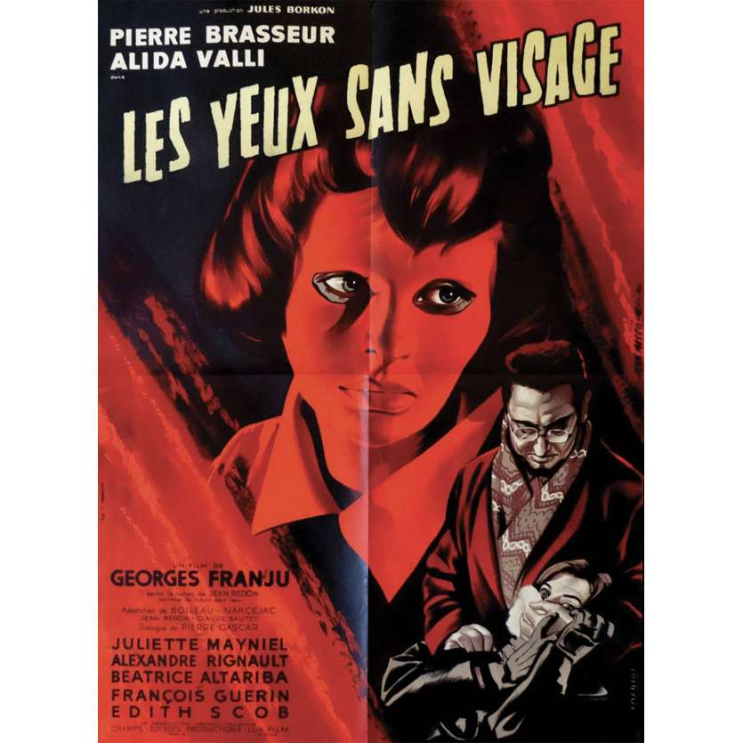 EYES WITHOUT A FACE French 23x32 '62 Les Yeux Sans Visage, different art by Jean Mascii!