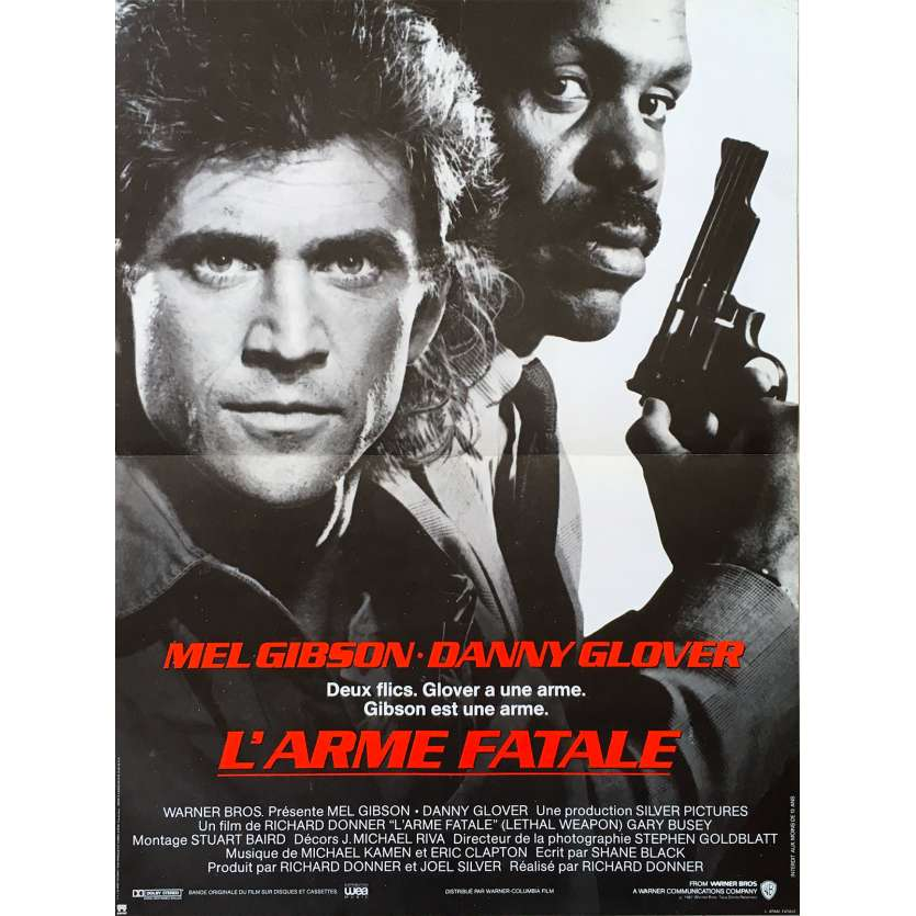 LETHAL WEAPON French Movie Poster 15x21 '87 Mel Gibson & Danny Glover