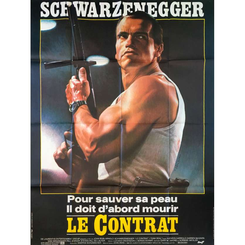 RAW DEAL French Movie Poster 47x63 '86 Arnold Schwarzenegger