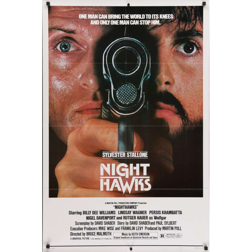 NIGHTHAWKS Original Movie Poster - 27x40 in. - 1981 - Sylvester Stallone, Rutger Hauer