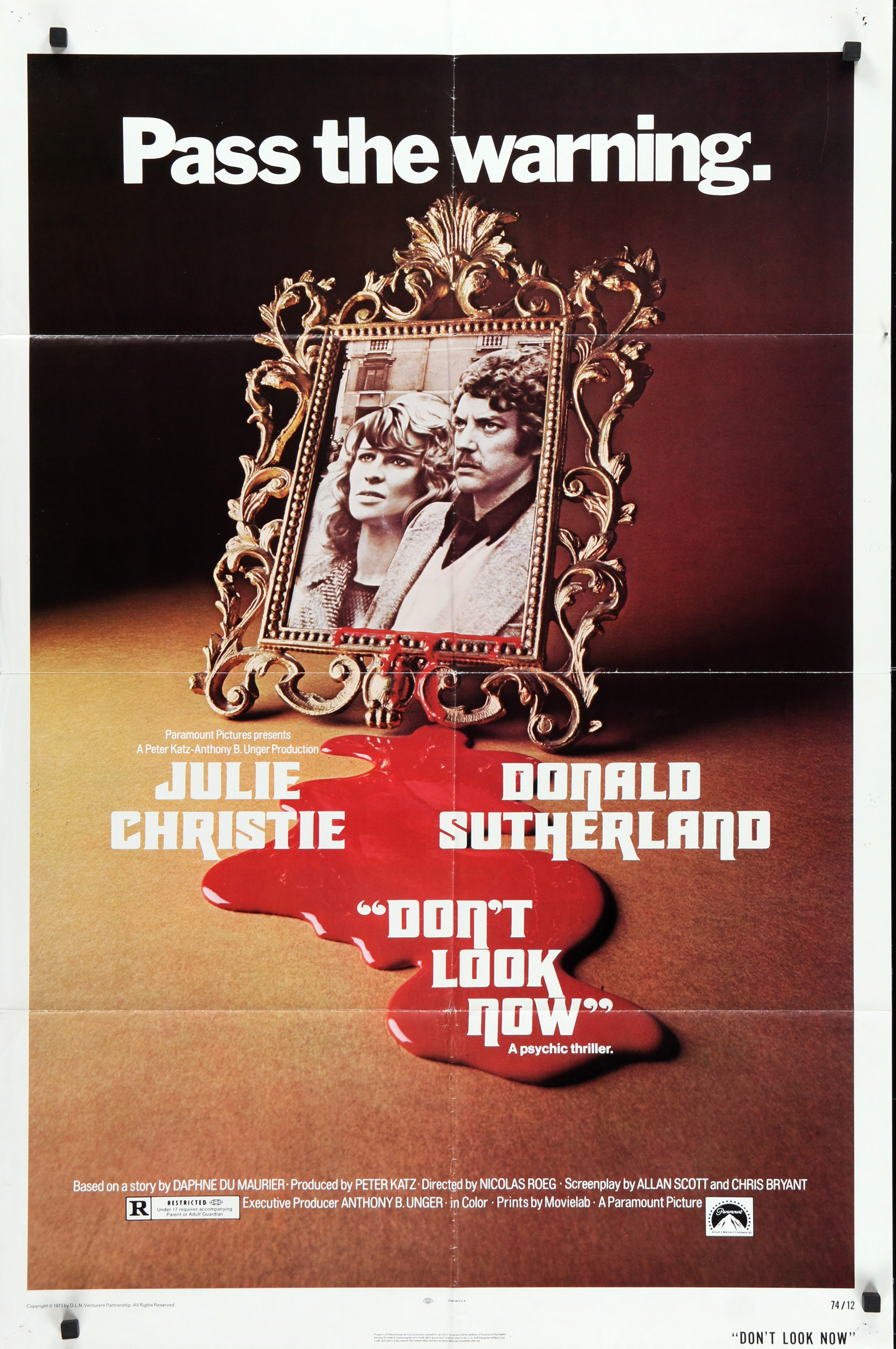 DON'T LOOK NOW Movie Poster 27x40 in.