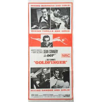 GOLDFINGER Affiche de film - 33x78 cm. - R1970 - Sean Connery, Guy Hamilton