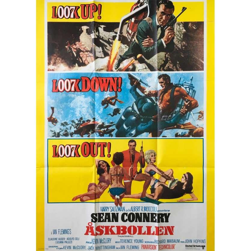 THUNDERBALL Original Movie Poster - 12x26 in. - R1970 - James Bond, Sean Connery