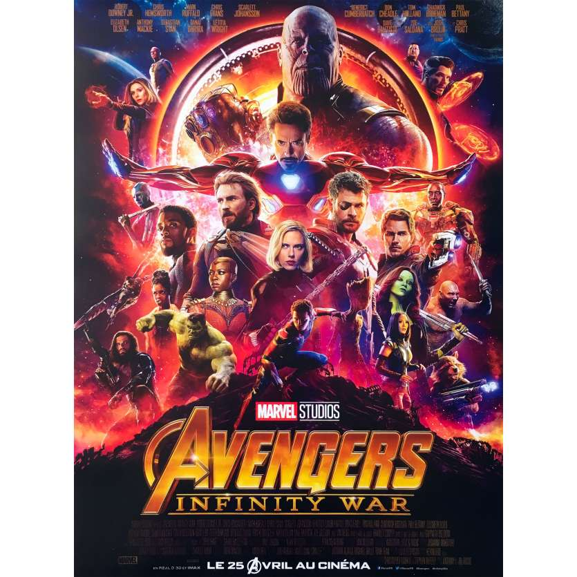 AVENGERS INFINITY WAR Affiche de film - 40x60 cm. - 2018 - Robert Downey Jr, Anthony Russo