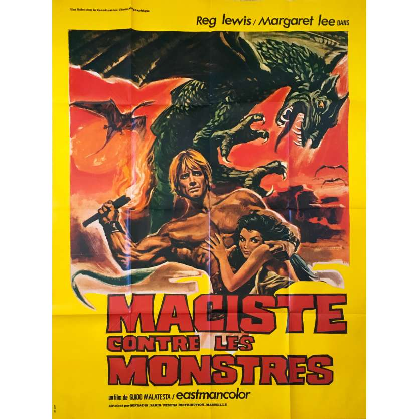 FIRE MONSTERS AGAIN THE SON OF HERCULES Original Movie Poster - 47x63 in. - 1962 - Guido Malatesta, Reg Lewis