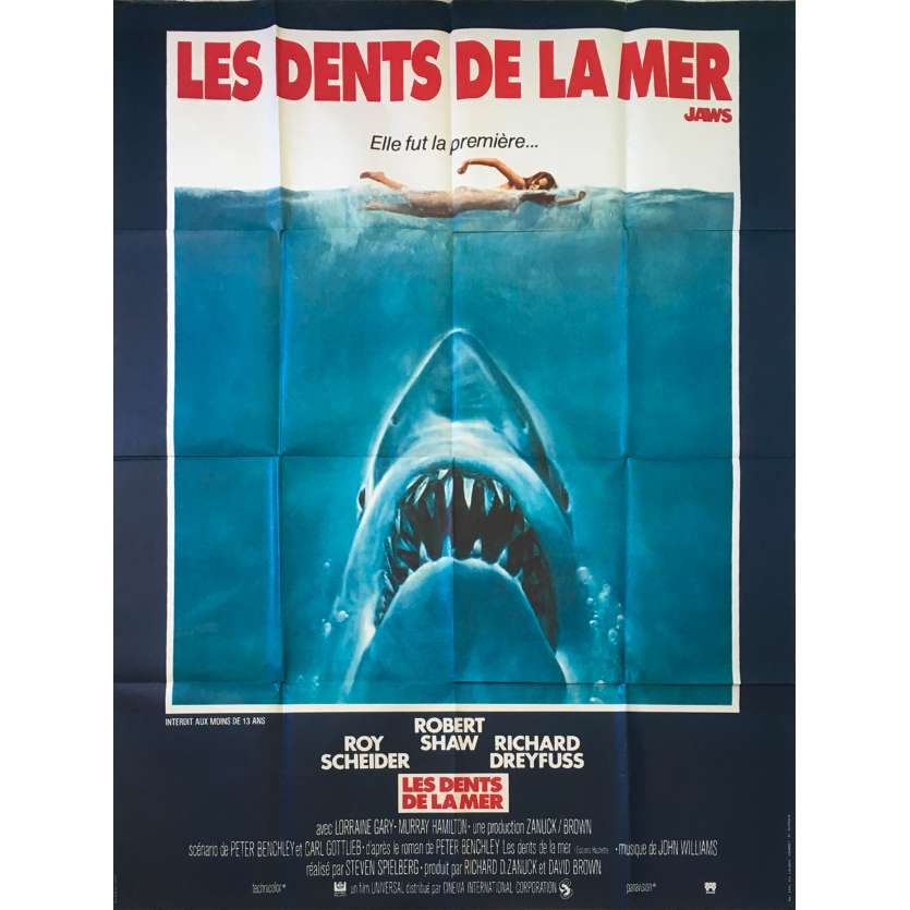 JAWS French 47x63 movie poster '75 Steven Spielberg