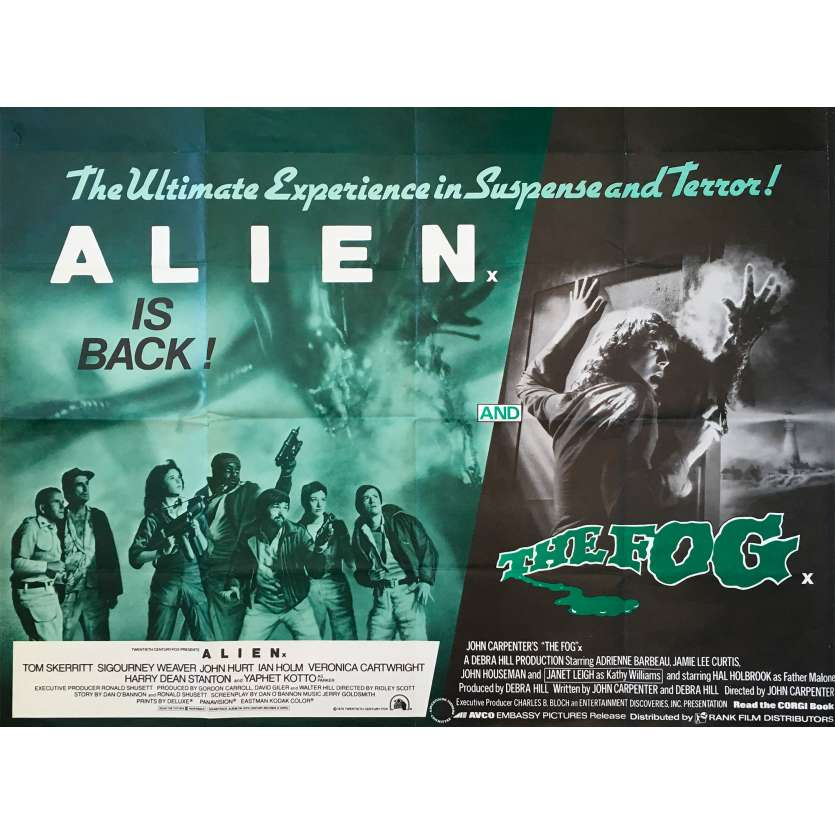 ALIEN / FOG Original Movie Poster - 30x40 in. - 1980 - Ridley Scott, John Carpenter, Sigourney Weaver