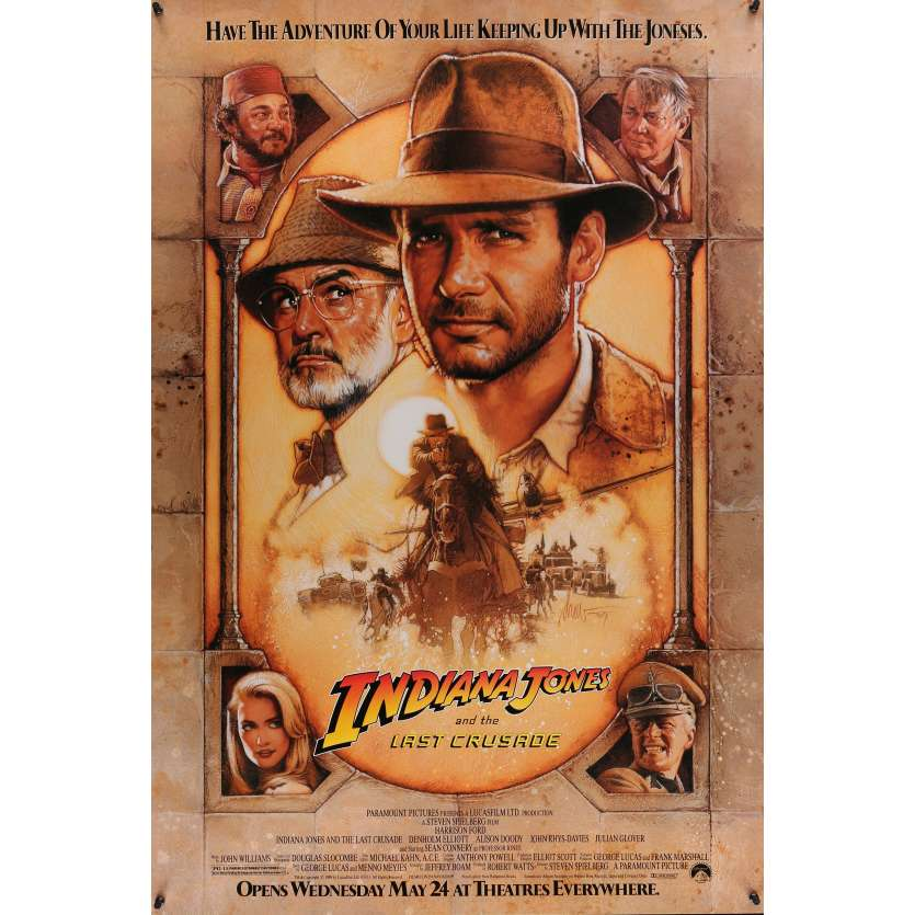 INDIANA JONES & THE LAST CRUSADE advance movie poster '89 Ford & Connery by Drew Struzan