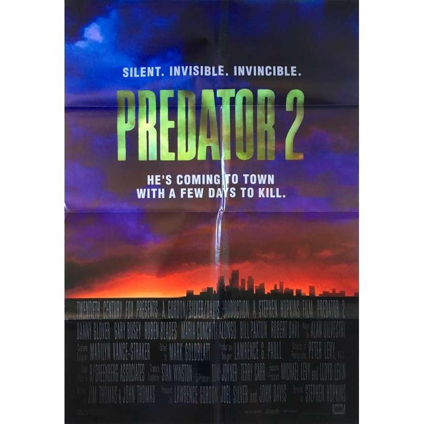 PREDATOR 2 Original Movie Poster Intl - 27x40 in. - 1990 - Stephen Hopkins, Danny Glover