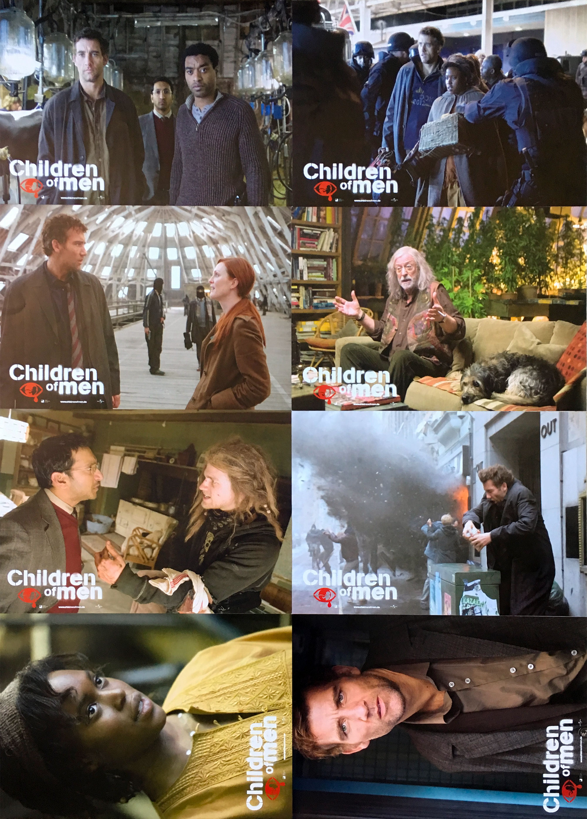 CHILDREN OF MEN Original Lobby Cards - 9x11,5 in  - 2006 - Alfonso Cuaron,  Clive Owens