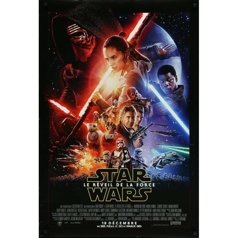 STAR WARS - THE FORCE AWAKENS VII 7 Original Movie Poster French - 27x40 in. - 2015 - J. J. Abrams, Harrison Ford, Carrie Fisher