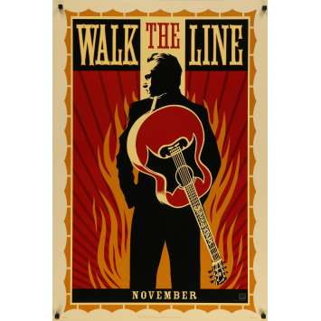 WALK THE LINE Original Movie Poster - 27x40 in. - 2005 - James mangold, Joaquin Phoenix