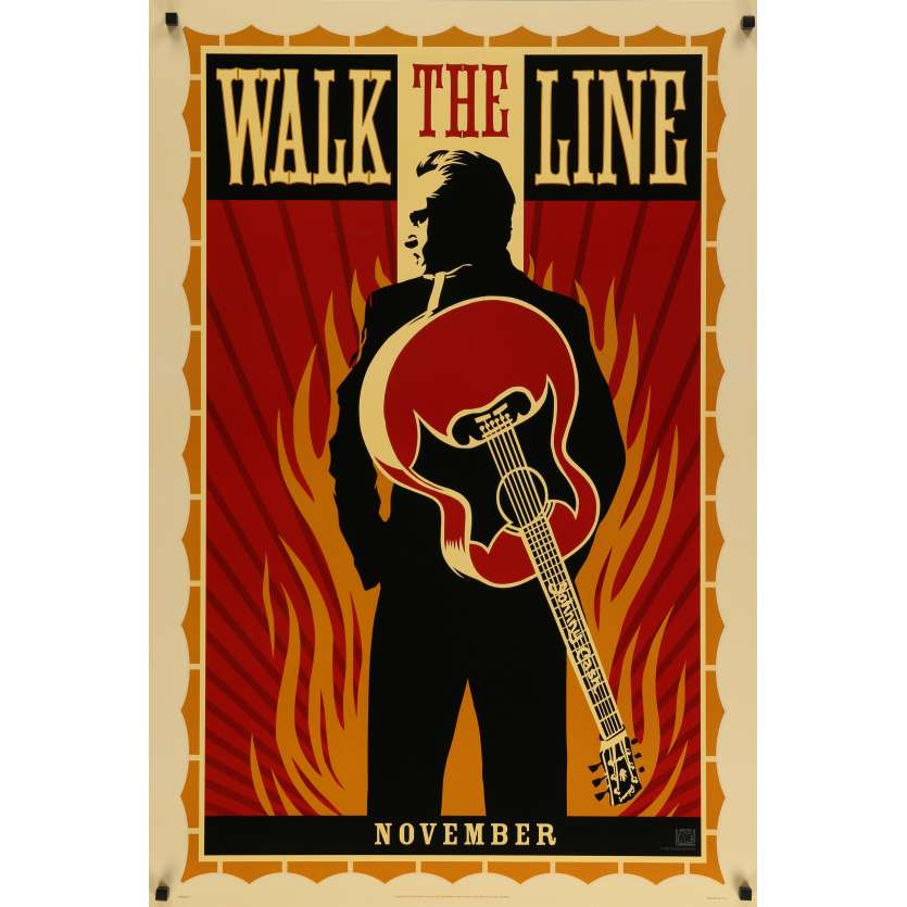 WALK THE LINE Original Movie Poster - 27x40 in. - 2005 - James mangold, Joaquin Phoenix