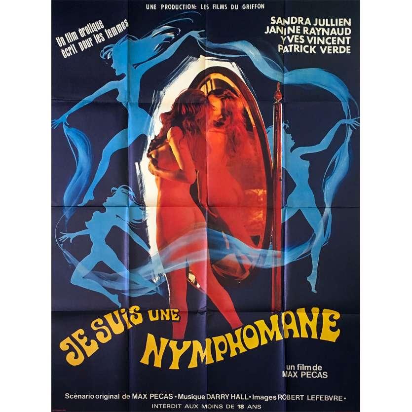I AM A NYMPHOMANIAC French Movie Poster 47x63- 1971 - Max Pécas, Sandra Julien