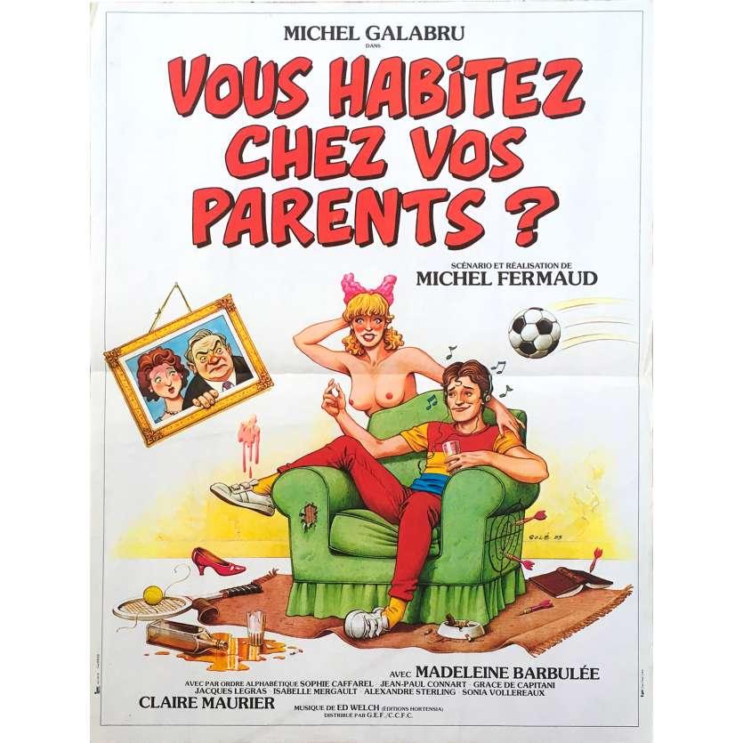 VOUS HABITEZ CHEZ VOS PARENTS French Movie Poster 15x21 - 1983 - Michel Fermaud, Michel Galabru