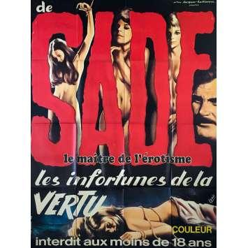 JUSTINE OU LES INFORTUNES DE LA VERTU Affiche de film - 120x160 cm. - 1969 - Koo Stark, Jess Franco