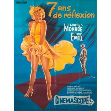7 ANS DE REFLEXION Affiche de film - 120x160 cm. - R1970 - Marilyn Monroe, Billy Wilder