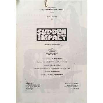 SUDDEN IMPACT Dossier de presse - 21x30 cm. - 1983 - Sondra Locke, Clint Eastwood
