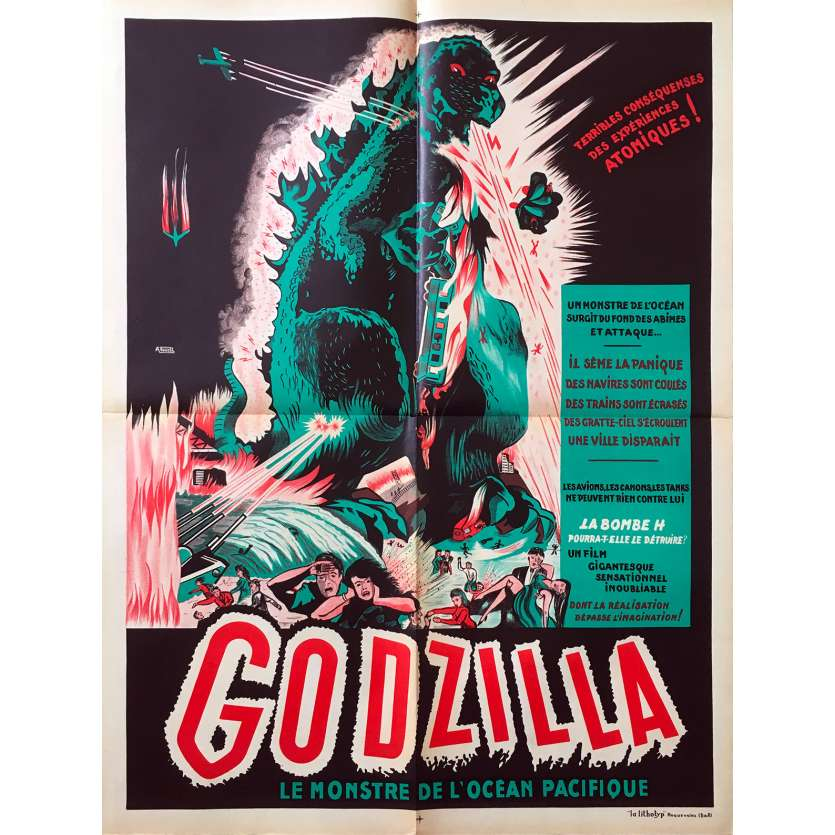 GODZILLA / GOJIRA Original French Movie Poster - 23x32 in. - 1957 1st Rel. - Honda ゴジラ