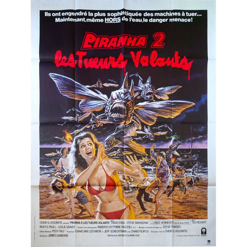 PIRANHA II THE SPAWNING Movie Poster 47x63 in. French - 1981 - James Cameron, Tricia O'Neil