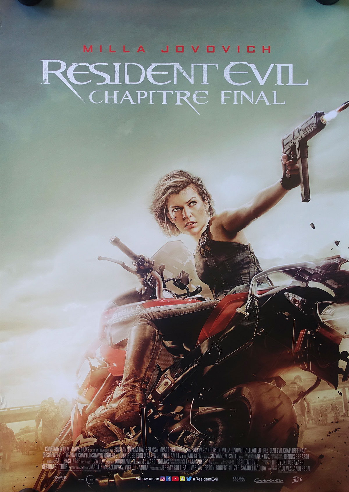 Resident Evil Final Chapter Movie Poster 28x40 In