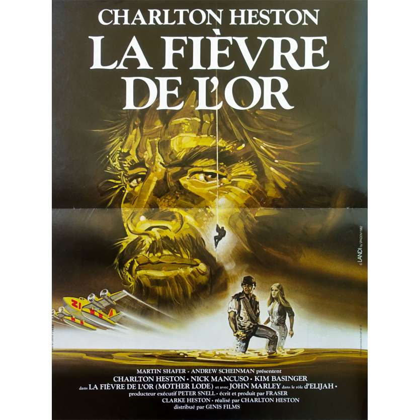 MOTHER LODE French Movie Poster 15x21 '82 Charlton Heston