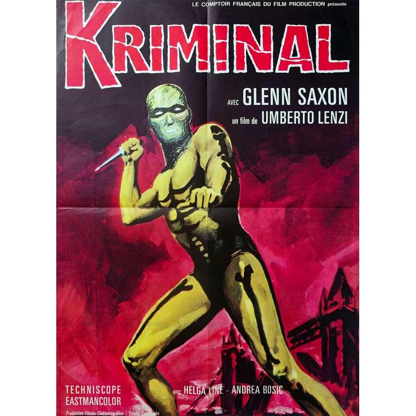 KRIMINAL Original Movie Poster - 23x32 in. - 1966 - Umberto Lenzi, Glenn Saxon
