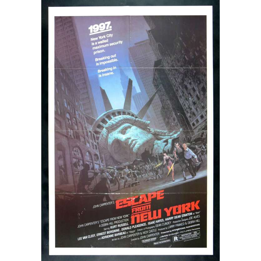 NEW YORK 1997 John Carpenter Affiche Originale Américaine '81 Kurt Russel