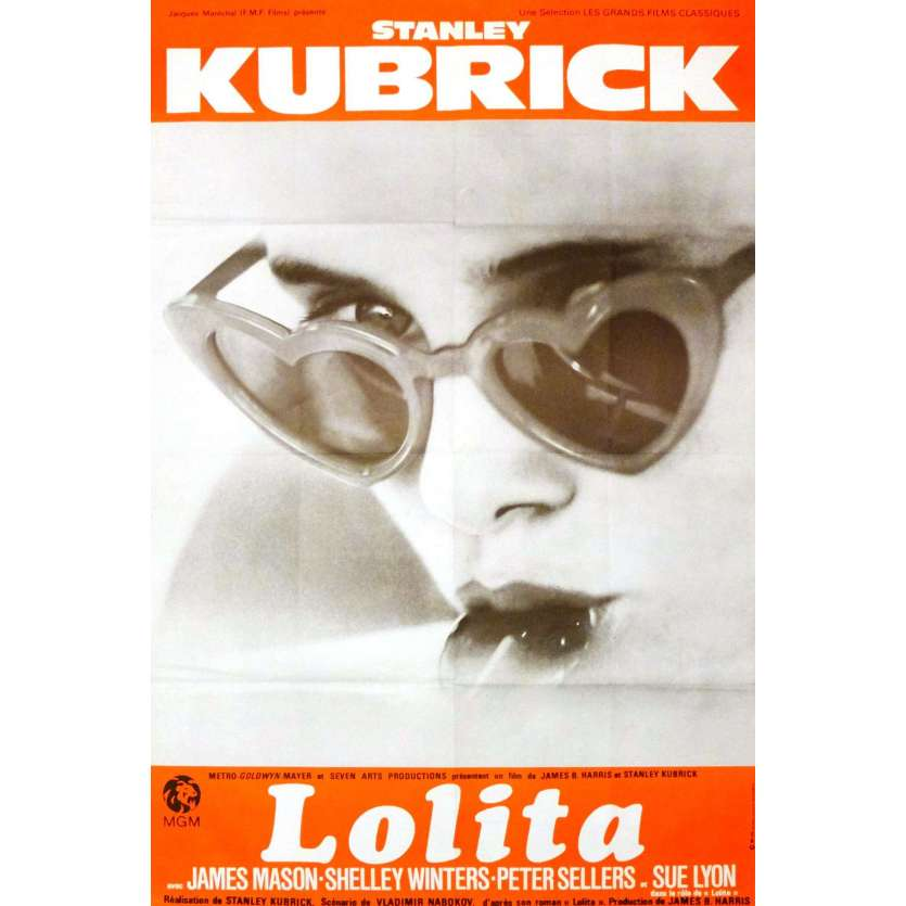 LOLITA Movie Poster 32x47 in. French - R1981 - Stanley Kubrick, James Mason