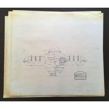 DUNE Lot de Blueprints - Vaisseau Harkonnen - 1982 - Kyle McLachlan, David Lynch