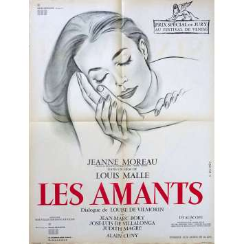 LOVERS French Movie Poster 23x32 FR '58 Jeanne Moreau, Louis Malle