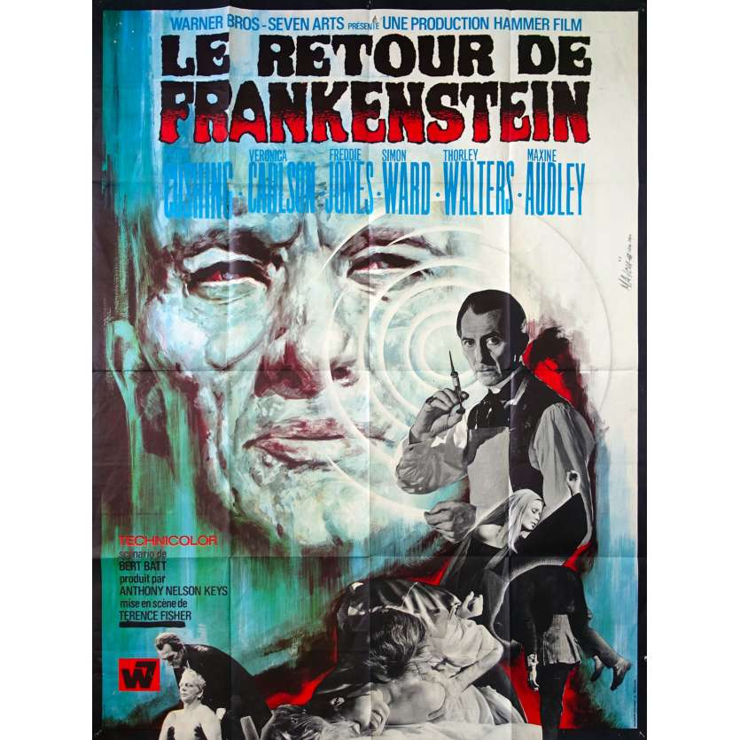 FRANKENSTEIN MUST BE DESTROYED Original Movie Poster - 47x63 in. - 1969 - Terence Fisher, Peter Cushing