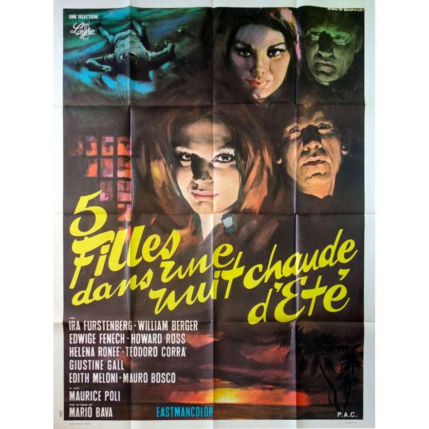 FIVE DOLLS FOR AN AUGUST MOON Original Movie Poster - 47x63 in. - 1970 - Mario Bava, Edwige Fenech