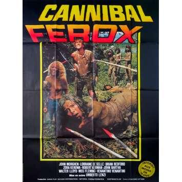 CANNIBAL FEROX Original Movie Poster - 47x63 in. - 1981 - Umberto Lenzi, Giovanni Lombardo Radice
