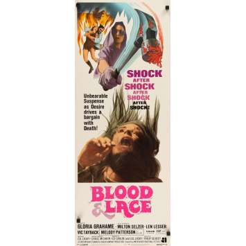 BLOOD & LACE insert movie poster '71 AIP, gruesome horror image of wacky cultist bloody hammer!