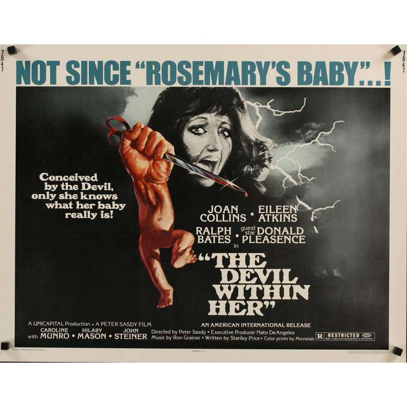DEVIL WITHIN HER 1/2sh '76 conceived by the Devil, only she knows what her baby really is!